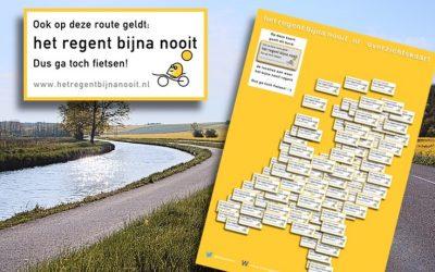 Overzichtskaart droge fietsroutes in Nederland